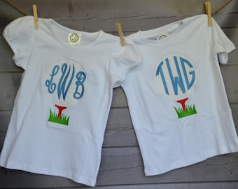 Personalized Golf Ball on Tee Monogram Applique Shirt or Bodysuit Boy or Girl