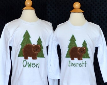 Personalized Forest Bear Applique Shirt or Bodysuit Girl or Boy