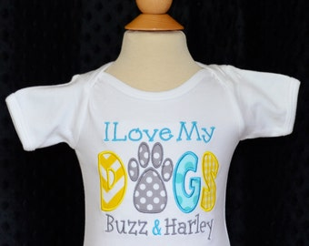 Personalized I Love My Dog Applique Shirt or Bodysuit Boy or Girl