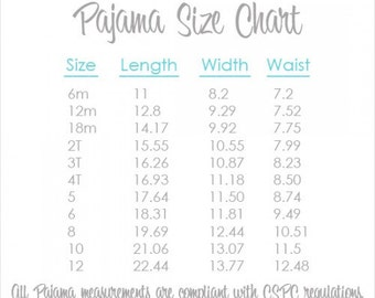 """Pajama Size Chart & Information - Visual Information Only  **PLEASE DON""""T PURCHASE**"""