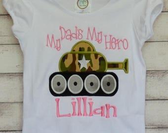 Personalized Military Tank Applique Shirt or Bodysuit Boy