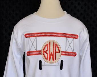 Personalized Bi Plane Monogram Applique Shirt or Bodysuit Boy or Girl