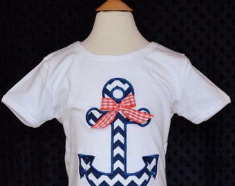 Personalized Nautical Anchor Applique Shirt or Bodysuit Girl or Boy
