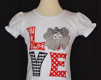 Personalized LOVE Elephant Football Applique Shirt or Bodysuit