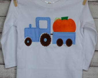 Personalized Pumpkin in Tractor Applique Shirt or Bodysuit for Boy or Girl