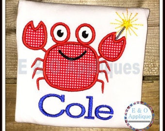 Personalized 4th of July Patriotic Crab Applique Shirt or Bodysuit Girl Boy