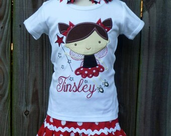 Personalized Fairy Applique Shirt or Bodysuit Girl