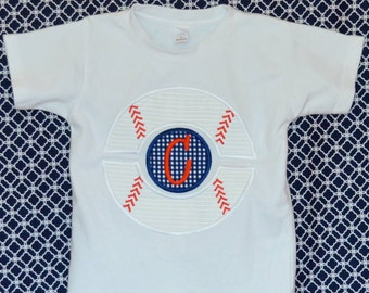 Personalized Baseball Monogram Applique Shirt or Bodysuit Girl or Boy