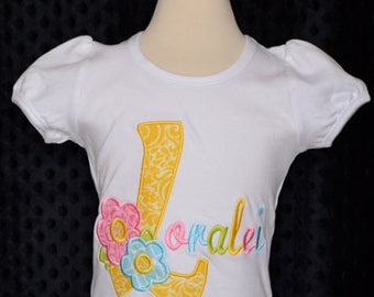 Personalized Spring Flower Initial Applique Shirt or Bodysuit Girl