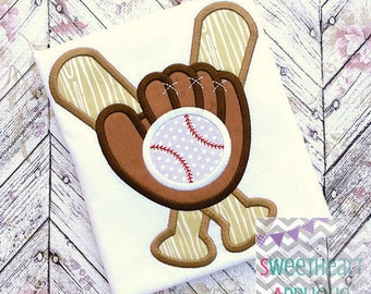 Personalized Baseball Softball Glove Bat Monogram Applique Shirt or Bodysuit Girl Boy