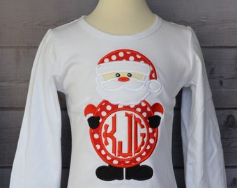 Santa Claus with Monogram Applique Shirt or Bodysuit Boy or Girl