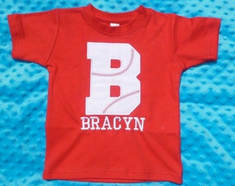 Personalized Baseball Initial Applique Shirt or Bodysuit Girl or Boy