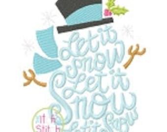 Let it Snow Snow Man Applique Shirt or Bodysuit Boy or Girl