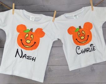Personalized Halloween Mouse Head with Ears Jack O Lantern Applique Shirt or Bodysuit for Boy or Girl