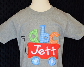 Personalized ABC Wagon Applique Shirt or Bodysuit Girl or Boy