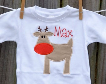 Big Nose Reindeer Applique Shirt or Bodysuit Boy or Girl