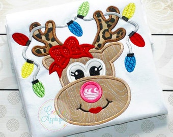 Reindeer with Bow and Lights Applique Shirt or Bodysuit Boy or Girl