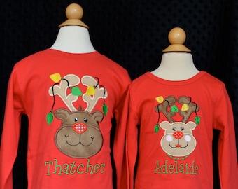 Reindeer with Lights Applique Shirt or Bodysuit Boy or Girl