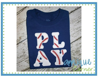 Personalized Baseball Play Ball Applique Shirt or Bodysuit Girl or Boy