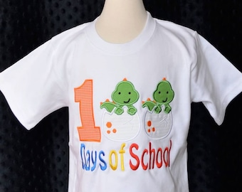 100 Days of School Dinosaurs Applique Shirt or Bodysuit Boy or Girl