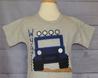 Personalized Jeep Applique Shirt or Bodysuit Boy or Girl