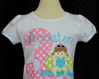 Personalized Birthday Swim Pool Party Applique Shirt or bodysuit Girl or Boy