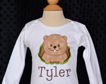 Personalized Ground Hog Applique Shirt or Bodysuit Girl or Boy