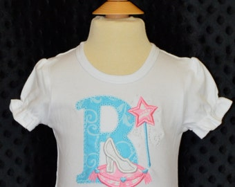 Personalized Initial or  Birthday Number with Princess Glass Slipper Applique Shirt or Bodysuit Girl