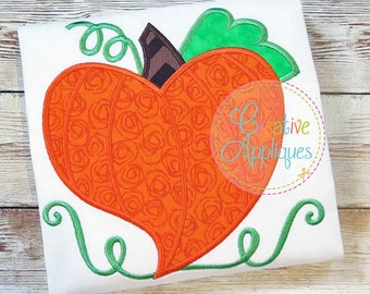 Personalized HEART Shaped Pumpkin Applique Shirt or Bodysuit for Boy or Girl