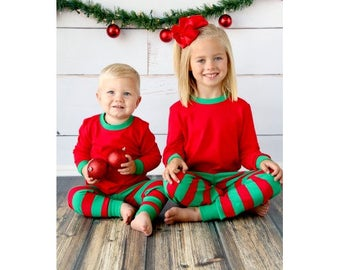 Monogram and/or Appliqué Unisex Red and Green Striped Christmas Pajamas PJs Limited Supply