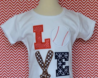 Personalized LOVE Baseball Applique Shirt or Bodysuit Girl