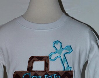 Personalized Truck with Cross Applique Shirt or Bodysuit Girl or Boy