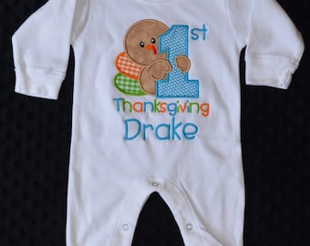 Personalized My 1st Thanksgiving Turkey Day Applique Shirt or Bodysuit for Boy or Girl SHOWN ON ROMPER