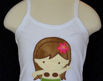 Personalized Hula Girl Applique Shirt or Bodysuit Girl
