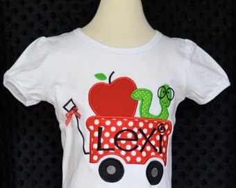 Personalized Wagon with Book Worm Apple Applique Shirt or Bodysuit Girl