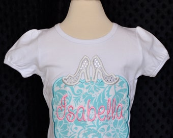 Personalized Princess High Heel Shoes Patch Applique Shirt or Bodysuit Girl