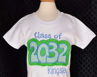 Personalized Class of  Applique Shirt or Bodysuit Girl or Boy