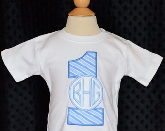 Personalized Birthday Number with Monogram Applique Shirt or Bodysuit Girl or Boy