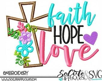 Personalized Faith Hope & Love Cross Applique Shirt or Bodysuit Girl or Boy