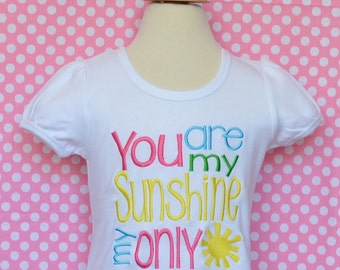 Personalized You are My Sunshine Applique Shirt or Bodysuit Girl