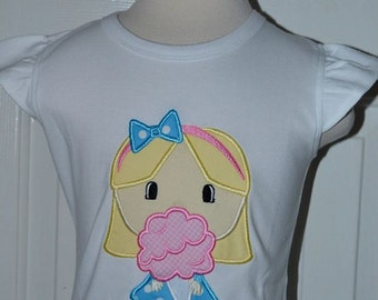 Personalized Girl with Cotton Candy Applique Shirt or Bodysuit Girl