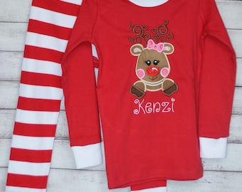 Monogram and/or Appliqué Unisex Red and White Striped Christmas Pajamas PJs