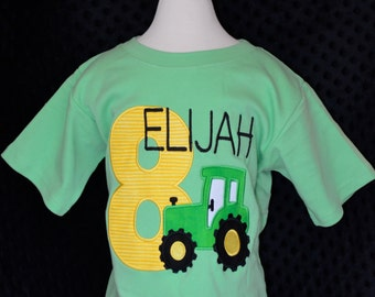 Personalized Birthday Tractor Applique Shirt or Bodysuit Girl or Boy