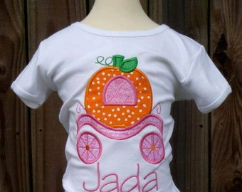Personalized Princess Pumpkin Carriage Applique Shirt or Bodysuit for Boy or Girl