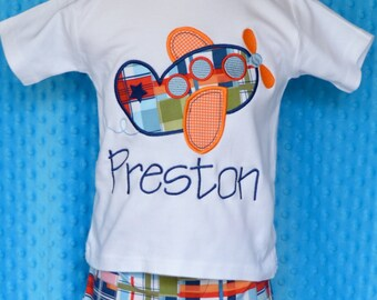 Personalized Airplane Applique Shirt or Bodysuit Boy or Girl