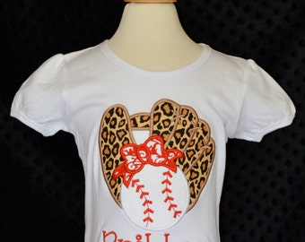 Personalized Baseball Softball Glove Bow Applique Shirt or Bodysuit Girl