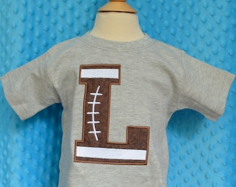 Personalized Football Initial Applique Shirt or Bodysuit