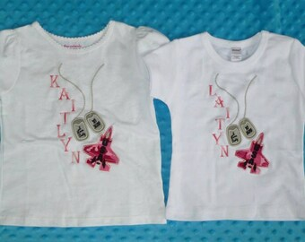 Personalized Military Jet & Dog Tags Applique Shirt or Bodysuit Boy or Girl