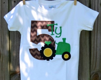 Personalized Birthday Tractor Cow Pig Applique Shirt or Bodysuit Girl or Boy