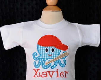 Personalized Baseball Octopus Applique Shirt or Bodysuit Girl or Boy